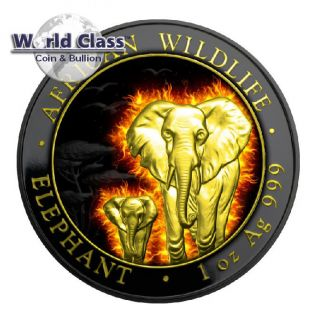 2015 Burning Elephant Black Ruthenium 1 Oz Silver Coin 100 Shillings Somalia photo