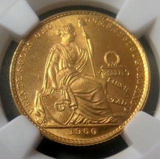 1960 Gold Peru 20 Soles Seated Liberty Coin Ngc State 65 Only 7,  753 Minted photo