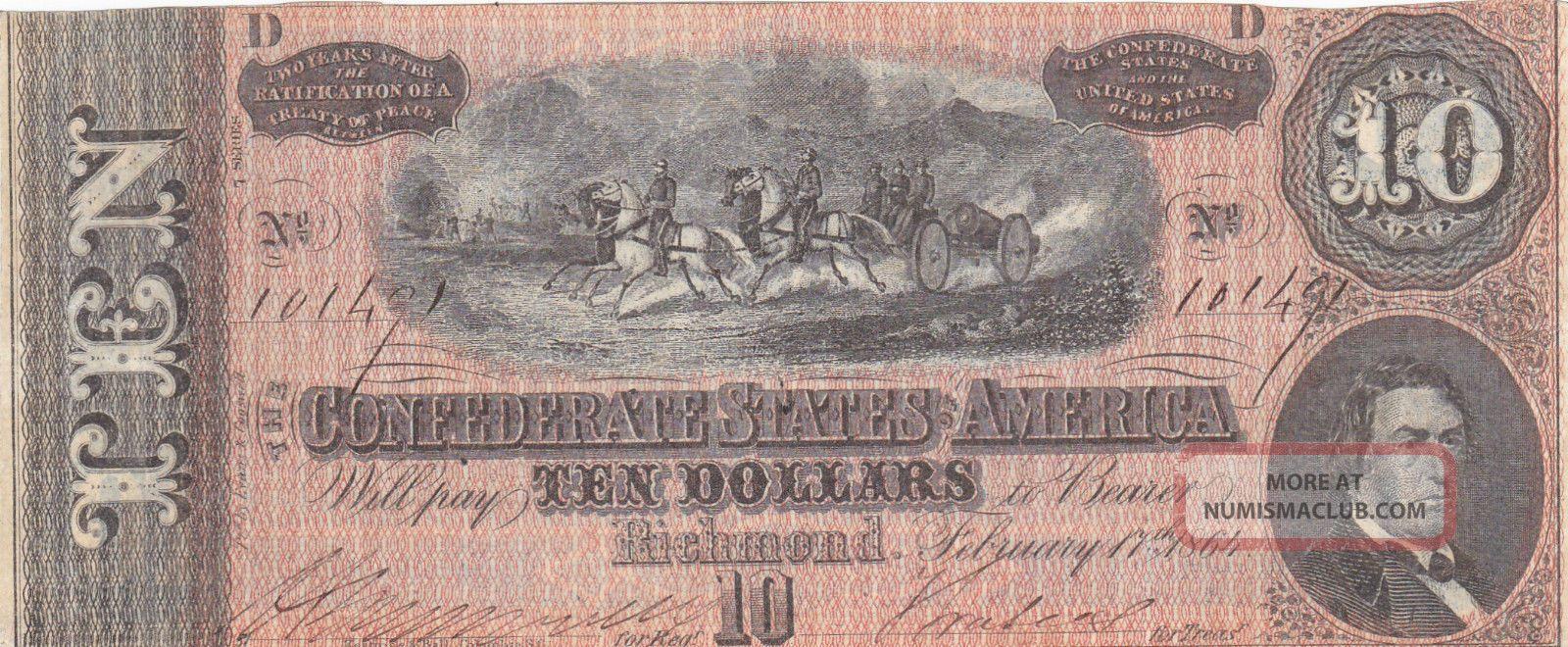 1864 Confederate States Ten Dollar $10 Note; Richmond No 10149 Higher Grade Paper Money: US photo