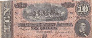 1864 Confederate States Ten Dollar $10 Note; Richmond No 10149 Higher Grade photo