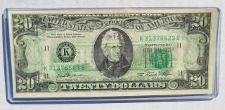 1981 $20 Federal Reserve Error Note 100 Wet Ink Transfer photo