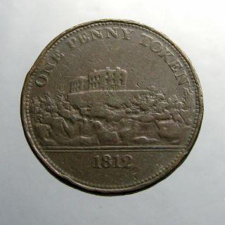 1812 Copper Penny_trade Token_nottingham Castle_j M Fellows_cross photo