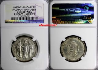 Hungary Silver 1935 Bp 2 Pengo Ngc Unc Details Pazmany Univer - 50,  000 Km 513 photo