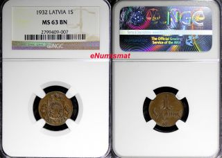 Latvia Bronze 1932 1 Santims Ngc Ms63 Bn Struck At Switzerland Km 1 photo