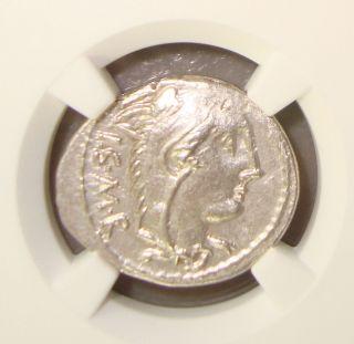 105 Bc L.  Thorius Balbus Ancient Roman Republic Silver Denarius Ngc Au 3/5 4/5 photo