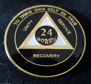 24 Hours Aa Alcoholics Anonymous Anniversary Painted Black Pearl Gold Medallion photo
