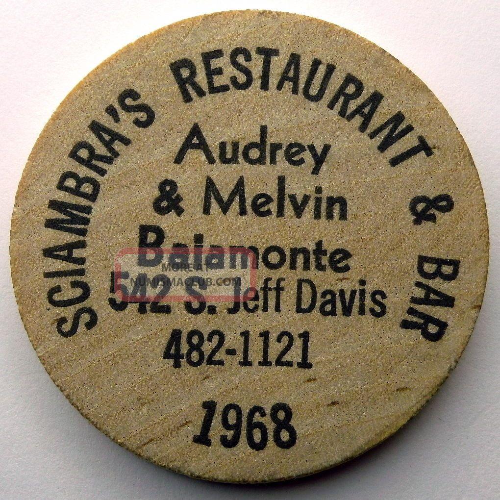Buffalo Wooden Nickeltokencoin 1968 Sciambra S Restaurant