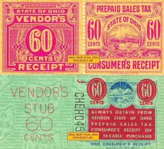 Ohio Prepaid Sales Tax Stamps - Rarer Maroon 60¢ Stamp & 60¢ Comparison Stamp photo