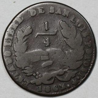 1862 San Luis Potosi Copper 1/4 Real (scarce Mexico 1st Republic State Coin) photo