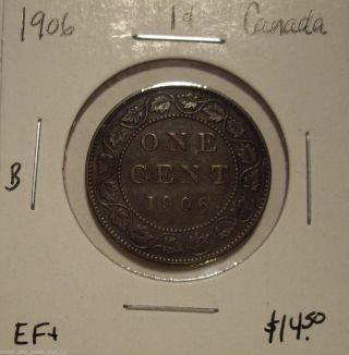 B Canada Edward Vii 1906 Large Cent - Ef, photo