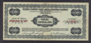 City Of Atlantic City Scrip,  $1.  00,  Very Fine Circulated,  February 16,  1933 photo
