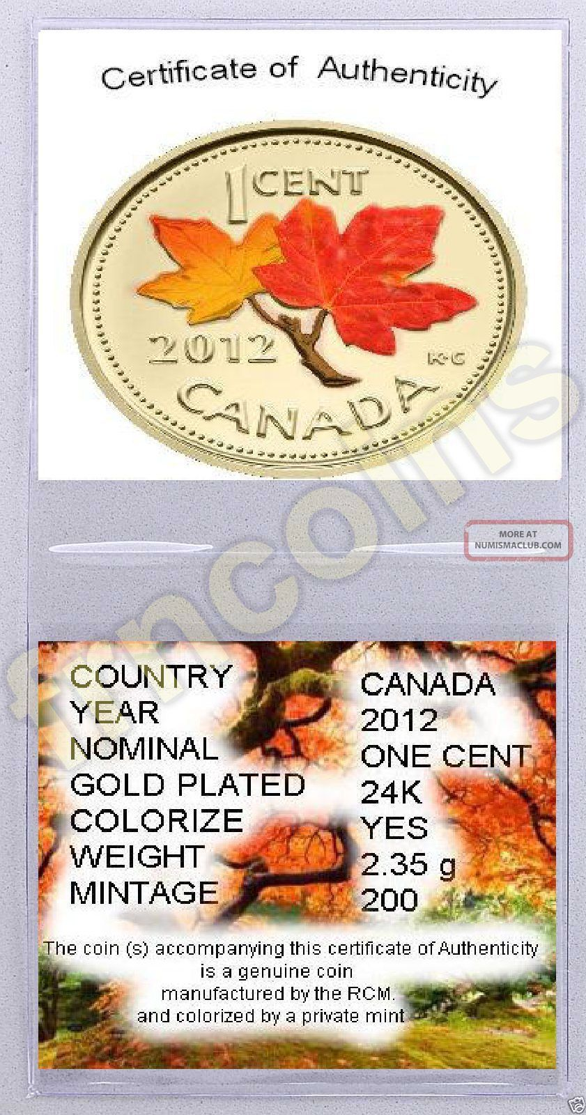 Canadian 2012 - Last Penny - Gilded - 24k And Colored Autumn  -