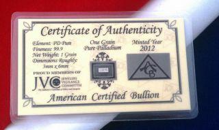 Acb Pd Solid Palladium Bullion Minted 1grain Bar 999 Pure W/ Certificate photo