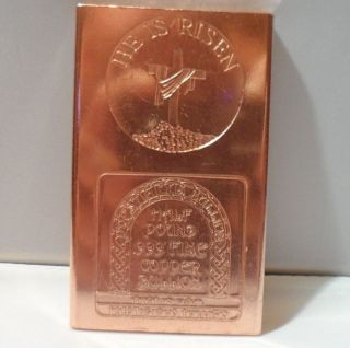 1/2 Lb Risen Jesus Christ.  999 Fine Copper Bullion Art Bar Shippng photo