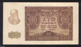 Poland 100 Zlotych 1940 Pick 97,  Vf photo
