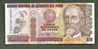 Peru 1991 5,  000,  000 Intis 8758 Aunc 99 Cents photo