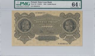 P - 32 1922 10,  000 Marek,  Poland - State Loan Bank,  Pmg 64epq photo