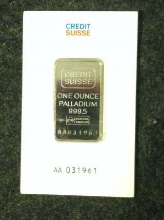 1 Oz.  Palladium Bar - Credit Suisse - 999.  5 Fine photo