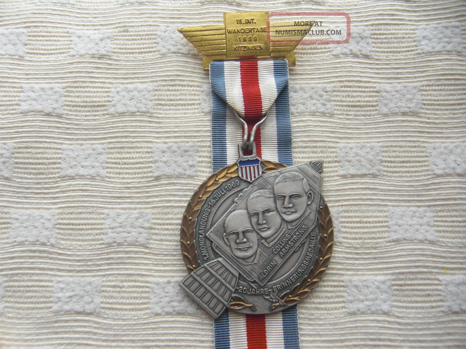 Medal First Moon Landing 1969 Collins. 20 Years Memory German