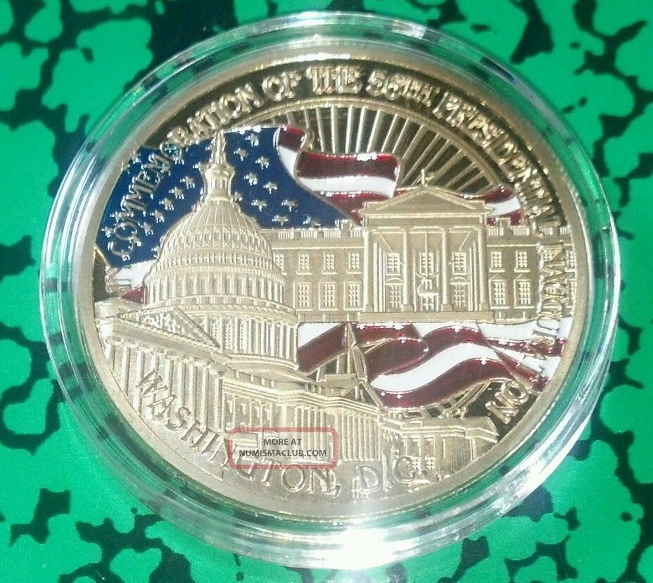Barack Obama Presidential White House Inauguration Colorized Art Coin Exonumia photo