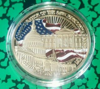 Barack Obama Presidential White House Inauguration Colorized Art Coin photo