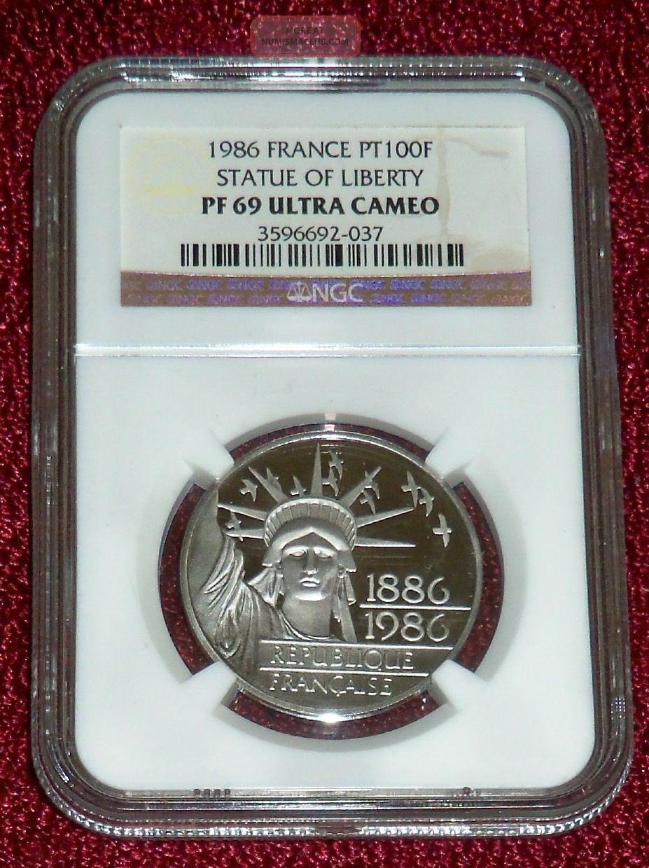 1986 Statue Of Liberty Ultra Cameo 100 Franc Platinum,  Ngc Pr69 20 Grams Pure Pt Europe photo