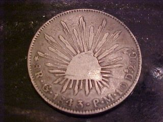 1843 Mexico 8 Reals Silver Coin photo