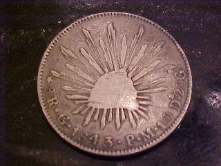 1843 Mexico 8 Reals Silver Coin photo