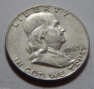 1963 - D Us Franklin Silver Half Dollar Coin photo