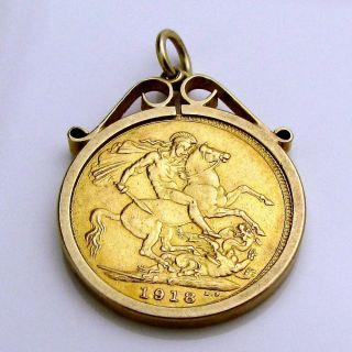 1918 George V 22k Gold Full Sovereign Coin Pendant With Error Collect Or Scrap photo
