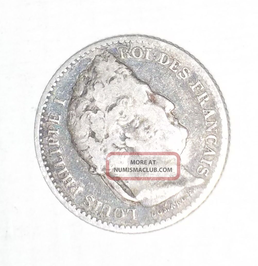 Ancient Coin 25 Cent France Louis Philippe 1845 Silver Europe photo