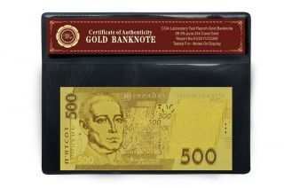 Gold Ukraine 500 Hryvnia Uah Banknote 99.  9 24k Gold Replica Note In Mylar Sleeve photo