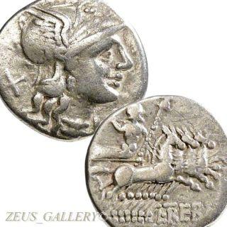 Roma / Jupiter Four Horse Chariot Trebania 1 Ancient Roman Silver Denarius Coin photo