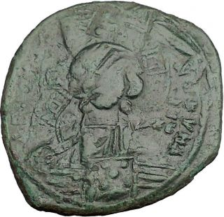 Jesus Christ Class B Anonymous Ancient 1028ad Byzantine Follis Coin Cross I50130 photo
