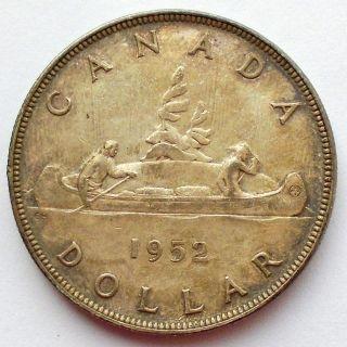 1952 Nwl Silver Dollar Ef Toned King George Vi Key Canada $1.  00 photo