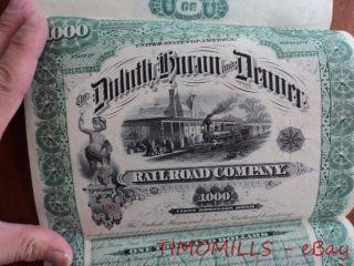 1887 Duluth Huron & Denver Railroad $1000 Bond Certificate Minnesota Minnesota photo