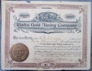 Antique Rialto Gold Mine Stock Certificate,  1896 photo