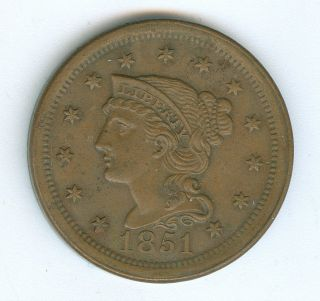 1851 Braided Hair Large Cent - Old Circ, photo