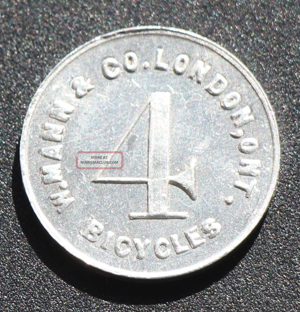 Canada: Mann & Co.  Alert Capital,  London On,  4 Bicycles.  Mccoll 771 Ex Gf Landon Exonumia photo