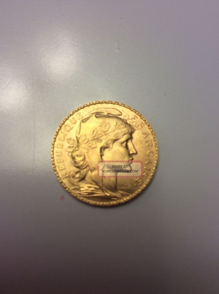 1913 20 Francs Gold Rooster Coin Bu Europe photo