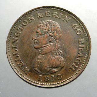 1814 Copper Penny_large Trade Token_wellington & Crowned Harp_ireland photo