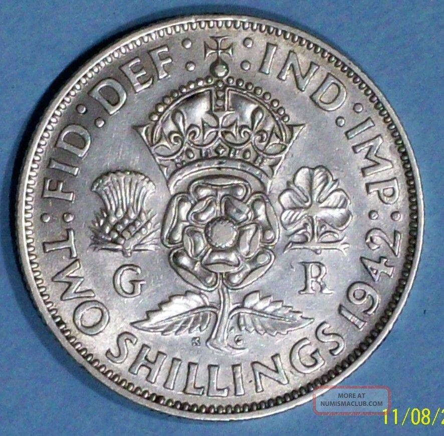 Great Britain Florin 1942 Extra Fine Silver Coin UK (Great Britain) photo