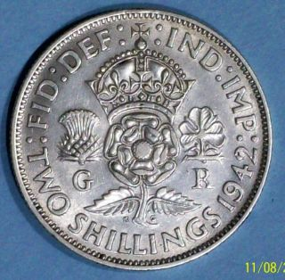 Great Britain Florin 1942 Extra Fine Silver Coin photo