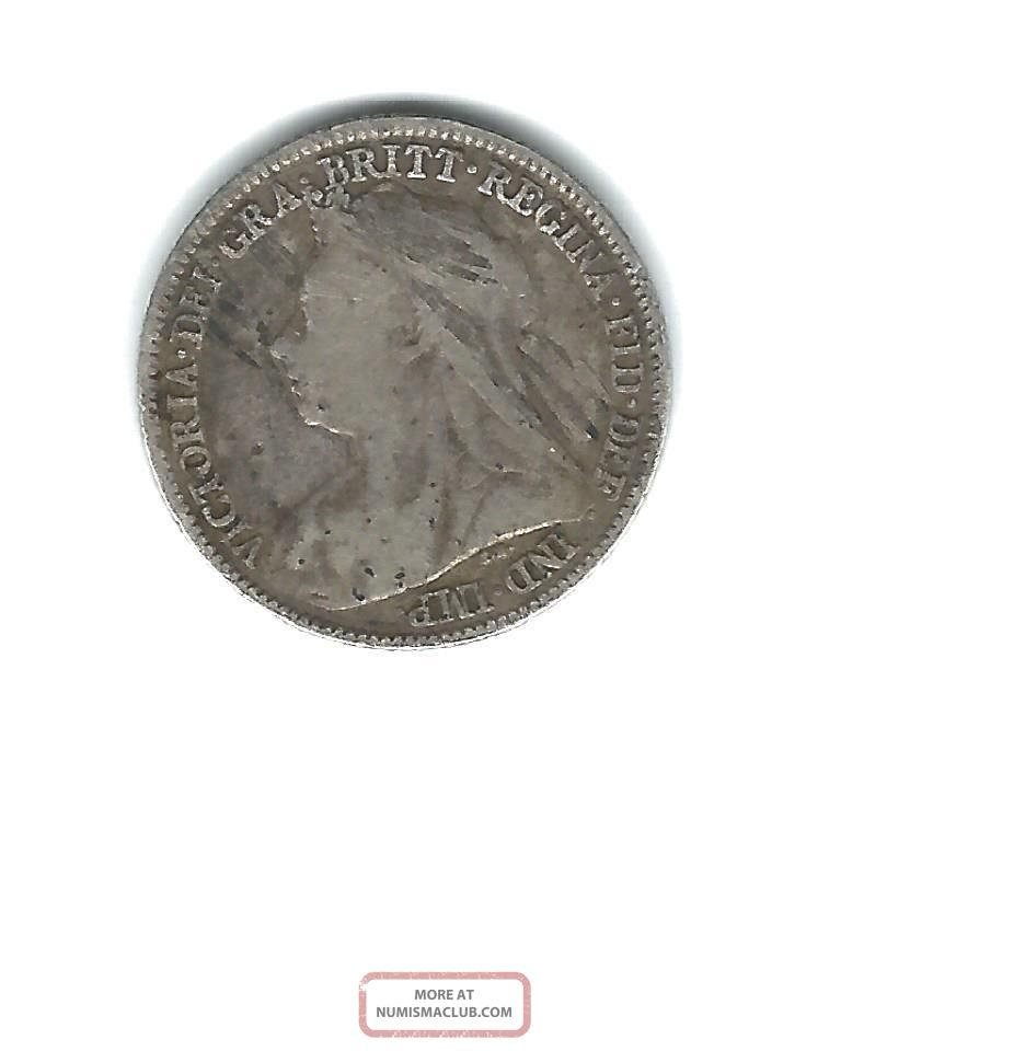 1896 Great Britian Silver 6 Pence Queen Victoria UK (Great Britain) photo