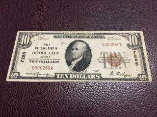 $10 1929 Dodge City Kansas National Bank Note Type 1 photo