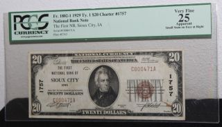 1929 $20 Charter 1757 National Bank Note First National Bank Sioux City Iowa Vf photo