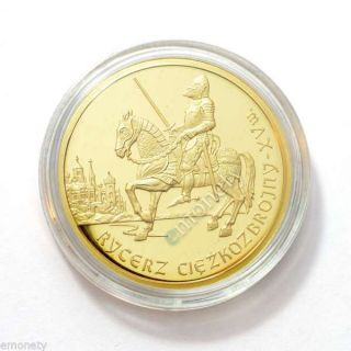 2007 Poland 200 Zl Mounted Knight - 15th - Polish Cavalry Gold Coin,  Gift photo