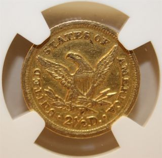 Rare 1852 - D $2.  5 Dollar Coin Au Details Rev Scratched Graded Ngc photo