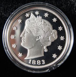 1883 5 Cents Liberty V Nickel 2oz.  999 Pure Silver Proof Coin (0505) photo