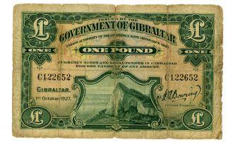 Gibraltar … P - 12 … 1 Pound … 1927 … Vg photo